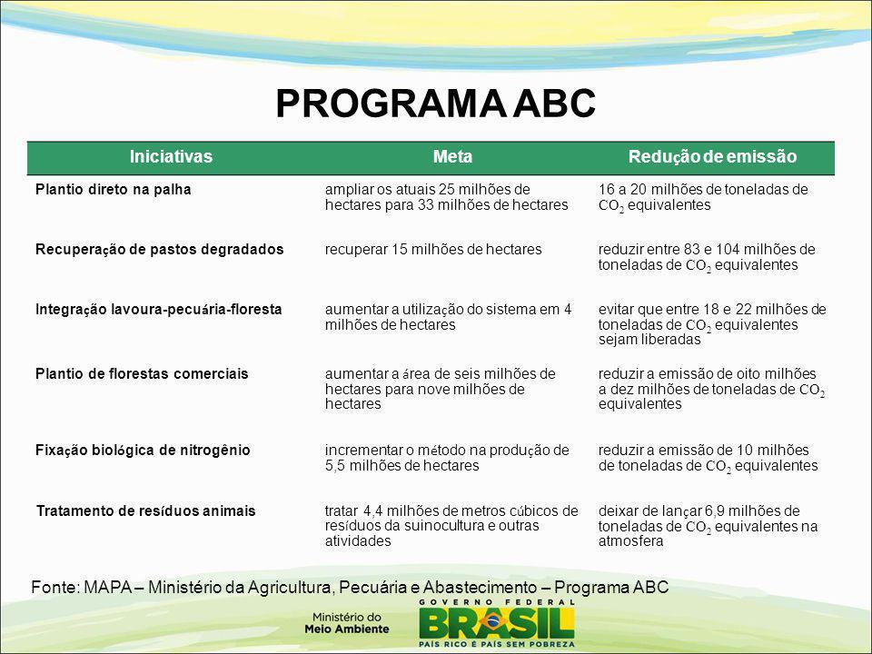 PROGRAMA ABC IniciativasMeta Redu ç ão de emissão Plantio direto na palhaampliar os atuais 25 milhões de hectares para 33 milhões de hectares 16 a 20
