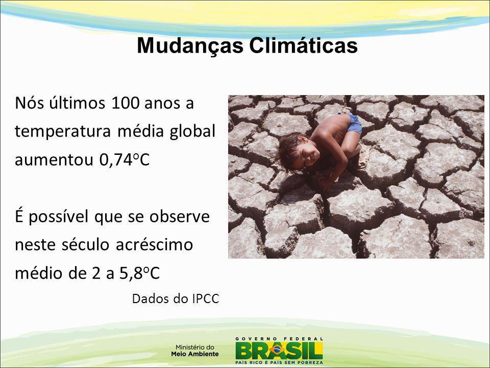 Mudanças Climáticas Nós últimos 100 anos a temperatura média global aumentou 0,74 o C É possível que se observe neste século acréscimo médio de 2 a 5,