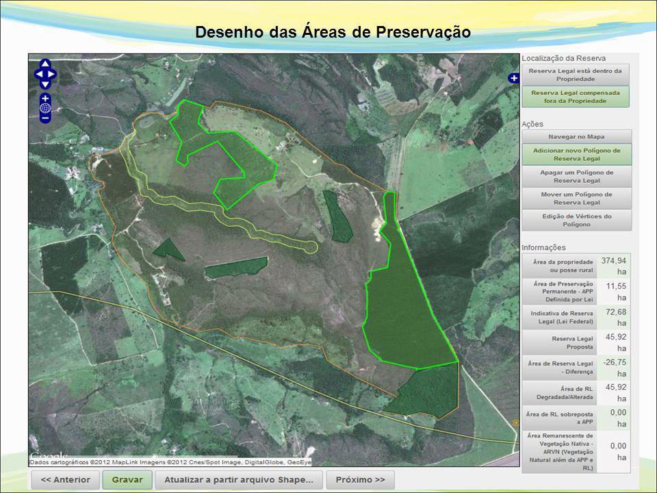 Desenho das Áreas de Preservação