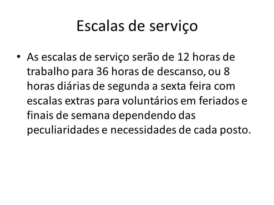 Escalas de serviço As escalas de serviço serão de 12 horas de trabalho para 36 horas de descanso, ou 8 horas diárias de segunda a sexta feira com esca