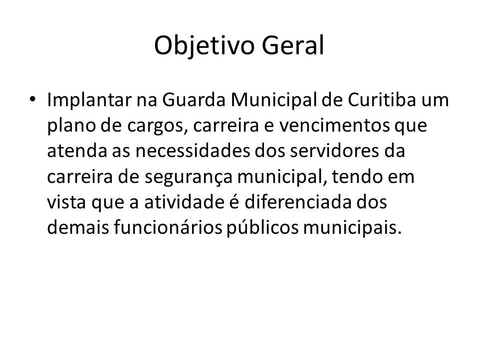 Objetivo Geral Implantar na Guarda Municipal de Curitiba um plano de cargos, carreira e vencimentos que atenda as necessidades dos servidores da carre