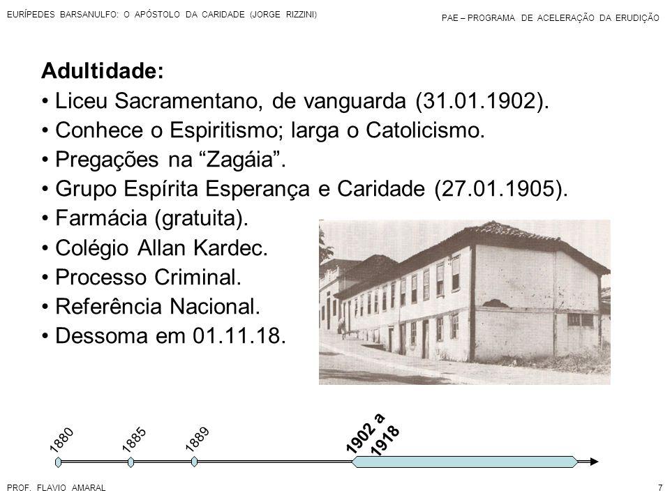 PAE – PROGRAMA DE ACELERAÇÃO DA ERUDIÇÃO PROF. FLAVIO AMARAL EURÍPEDES BARSANULFO: O APÓSTOLO DA CARIDADE (JORGE RIZZINI) 7 1880 Adultidade: Liceu Sac