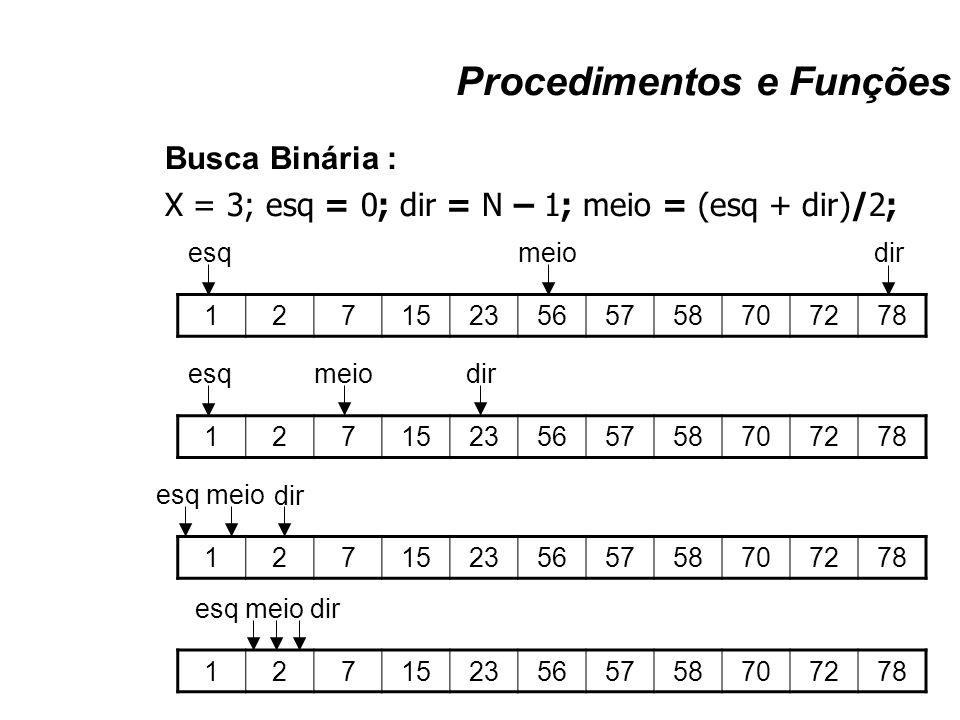 Procedimentos e Funções Busca Binária : X = 3; esq = 0; dir = N – 1; meio = (esq + dir)/2; 1271523565758707278 esqmeiodir 1271523565758707278 esq meio