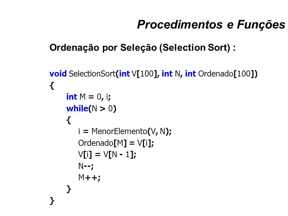 Procedimentos e Funções Ordenação por Seleção (Selection Sort) : void SelectionSort(int V[100], int N, int Ordenado[100]) { int M = 0, i; while(N > 0)