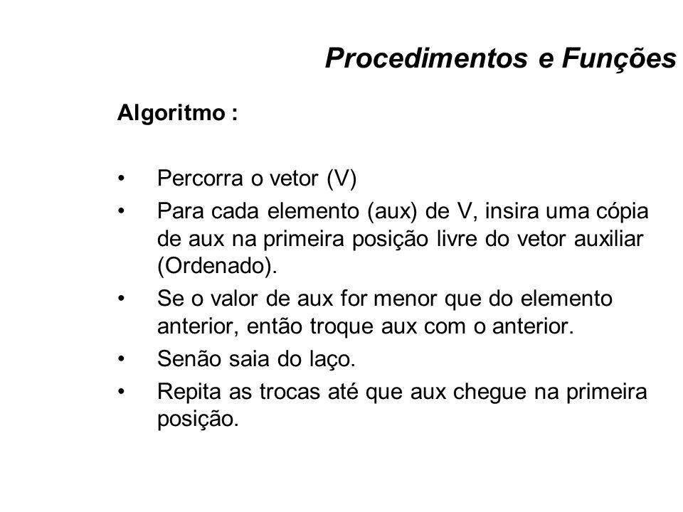 Procedimentos e Funções Algoritmo : Percorra o vetor (V) Para cada elemento (aux) de V, insira uma cópia de aux na primeira posição livre do vetor aux