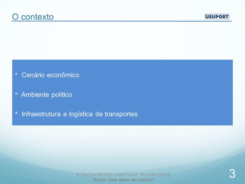 O contexto Cenário econômico Ambiente político Infraestrutura e logística de transportes 6º ENCONTRO DE LOGÍSTICA E TRANSPORTES Brasil: Sem Medo de Crescer 3