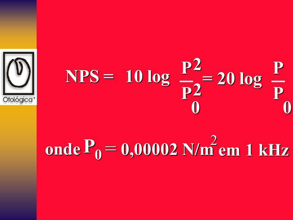 NPS = 10 log P 0 = 20 log 22 P P 0 P P 2 0 onde = 0,00002 N/m em 1 kHz