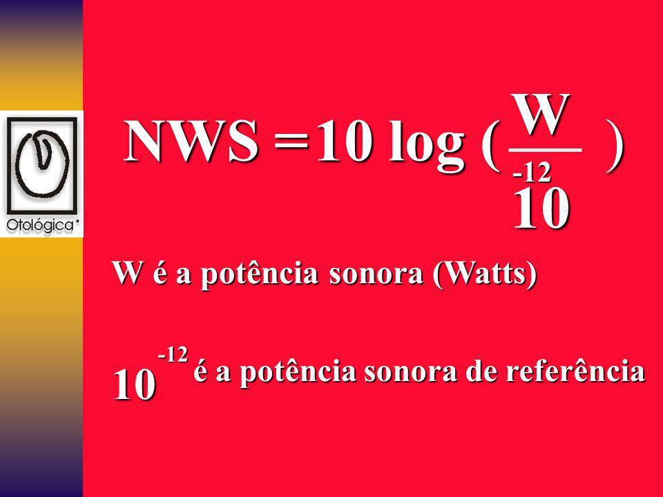 10 log ( 10 W -12 NWS = ) W é a potência sonora (Watts) 10 -12 é a potência sonora de referência