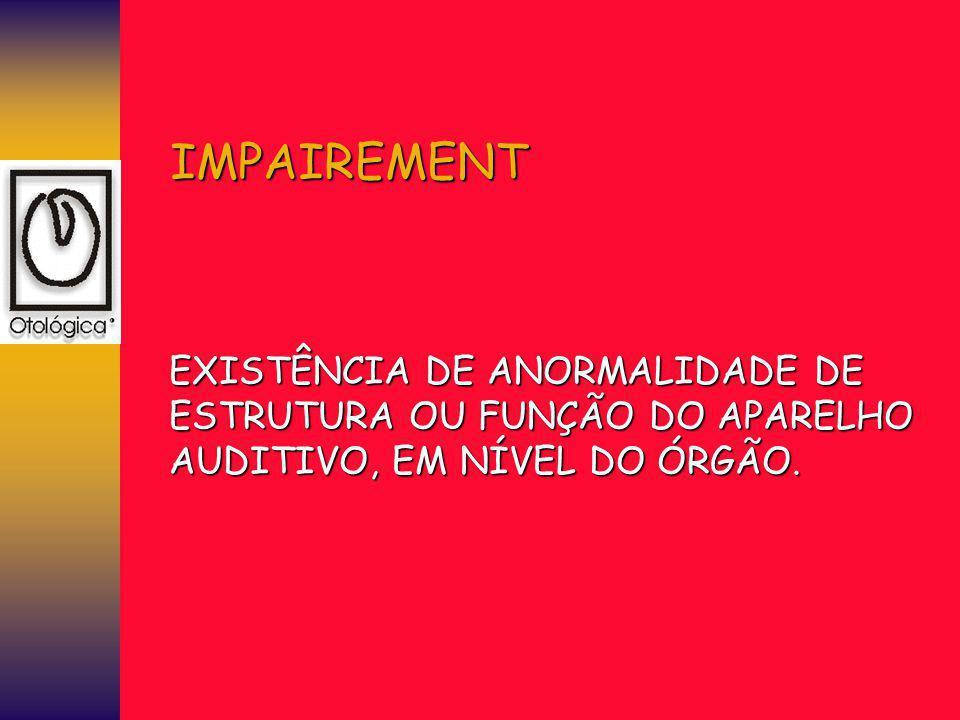 IMPAIREMENT EXISTÊNCIA DE ANORMALIDADE DE ESTRUTURA OU FUNÇÃO DO APARELHO AUDITIVO, EM NÍVEL DO ÓRGÃO.