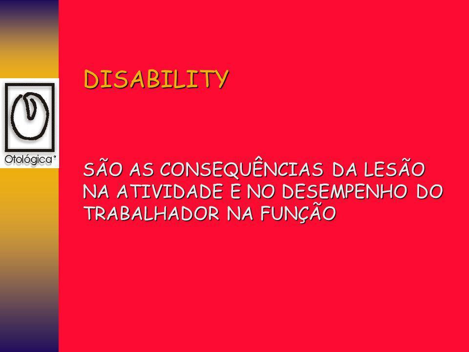 DISABILITY SÃO AS CONSEQUÊNCIAS DA LESÃO NA ATIVIDADE E NO DESEMPENHO DO TRABALHADOR NA FUNÇÃO