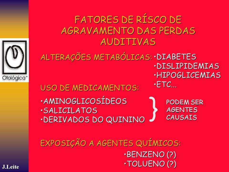 J.Leite FATORES DE RÍSCO DE AGRAVAMENTO DAS PERDAS AUDITIVAS ALTERAÇÕES METABÓLICAS: DIABETESDIABETES DISLIPIDEMIASDISLIPIDEMIAS HIPOGLICEMIASHIPOGLIC
