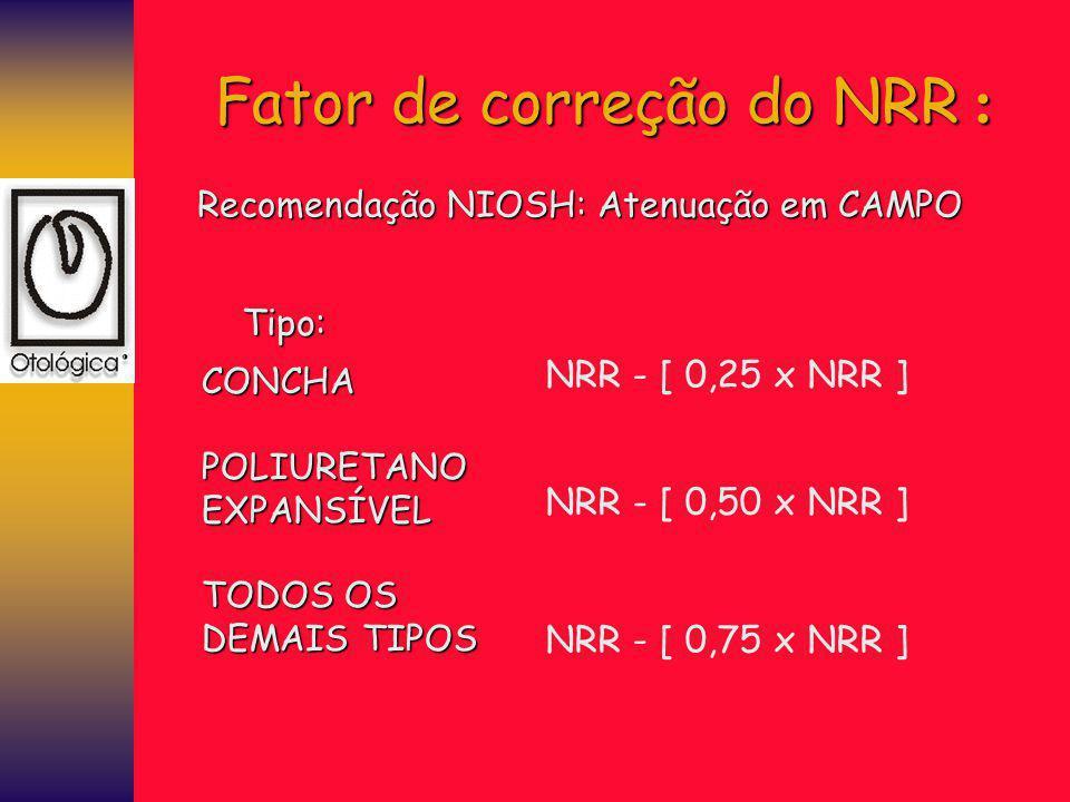 Recomendação NIOSH: Atenuação em CAMPO Tipo: CONCHAPOLIURETANOEXPANSÍVEL TODOS OS DEMAIS TIPOS NRR - [ 0,25 x NRR ] NRR - [ 0,50 x NRR ] NRR - [ 0,75