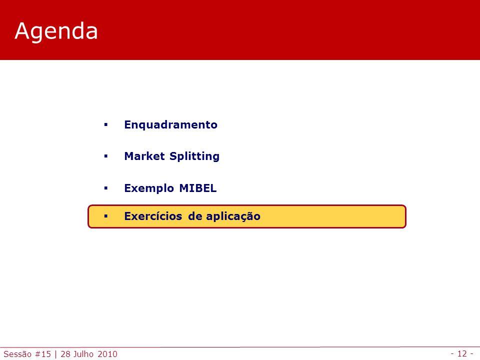 - 12 - Sessão #15 | 28 Julho 2010 Agenda  Enquadramento  Market Splitting  Exemplo MIBEL  Exercícios de aplicação