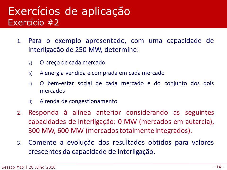 - 14 - Sessão #15 | 28 Julho 2010 1. Para o exemplo apresentado, com uma capacidade de interligação de 250 MW, determine: a) O preço de cada mercado b