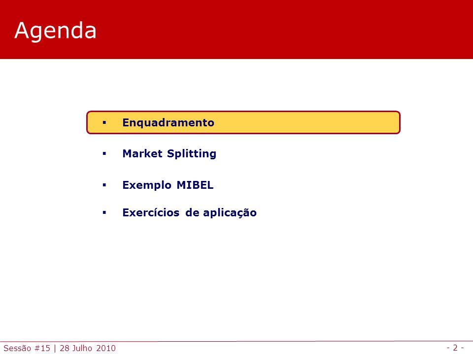 - 2 - Sessão #15 | 28 Julho 2010 Agenda  Enquadramento  Market Splitting  Exemplo MIBEL  Exercícios de aplicação