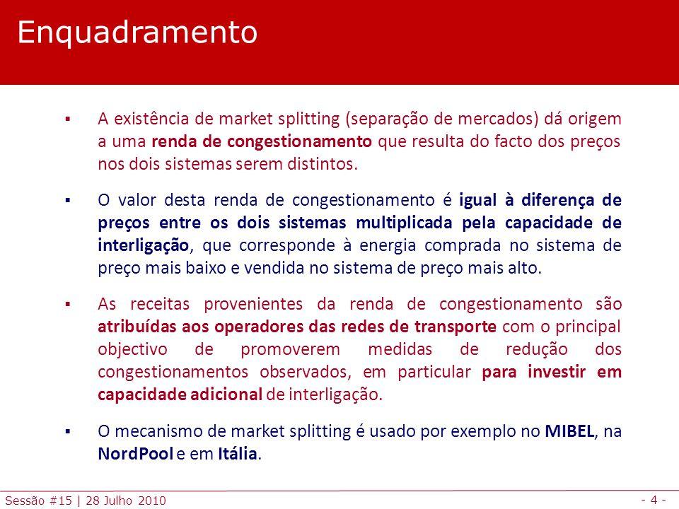 - 4 - Sessão #15 | 28 Julho 2010  A existência de market splitting (separação de mercados) dá origem a uma renda de congestionamento que resulta do f