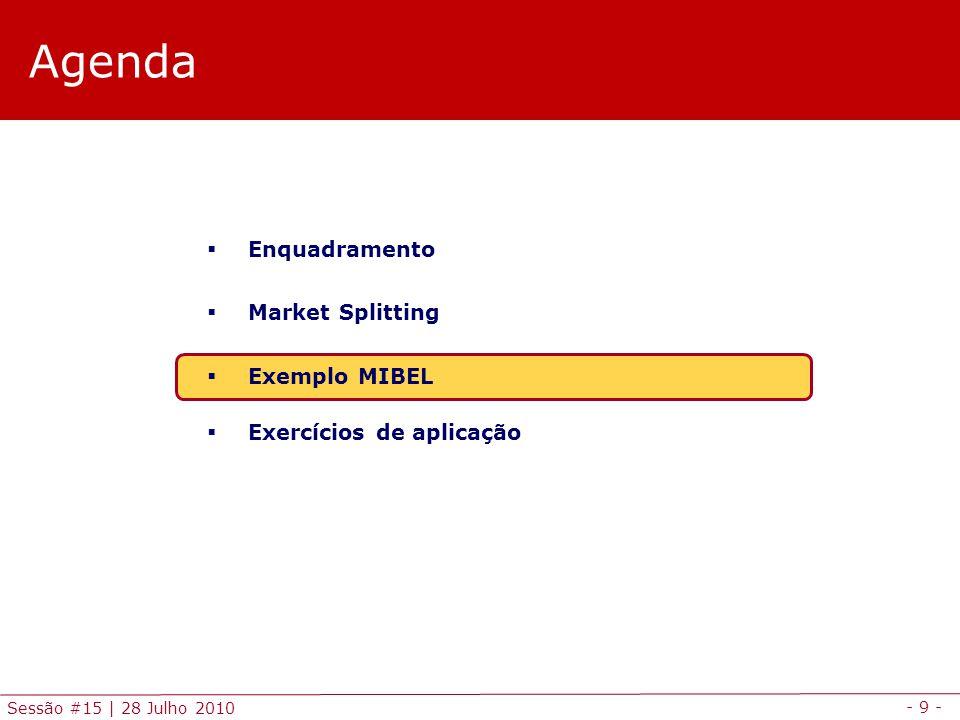 - 9 - Sessão #15 | 28 Julho 2010 Agenda  Enquadramento  Market Splitting  Exemplo MIBEL  Exercícios de aplicação