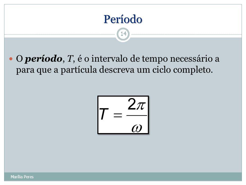 Período O período, T, é o intervalo de tempo necessário a para que a partícula descreva um ciclo completo. 14 Marília Peres