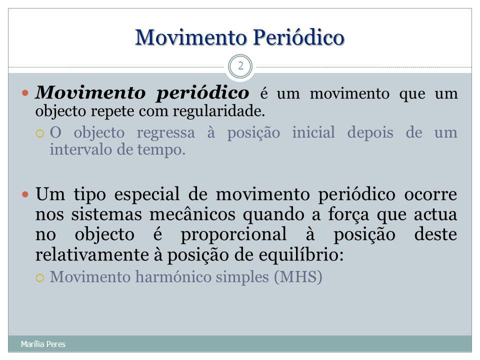 x(t) = A sin (  t +  A,  são constantes 13 Marília Peres MHS – Representação Gráfica A é a amplitude do movimento  é a frequência angular  Unid.: rad/s  fase inicial do movimento (ângulo em radianos)