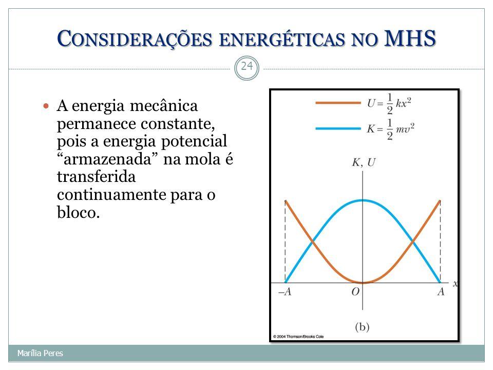 "A energia mecânica permanece constante, pois a energia potencial ""armazenada"" na mola é transferida continuamente para o bloco. 24 Marília Peres C ONS"