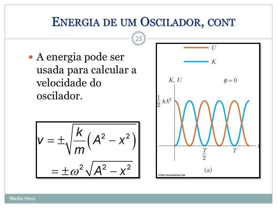 E NERGIA DE UM O SCILADOR, CONT A energia pode ser usada para calcular a velocidade do oscilador. 25 Marília Peres