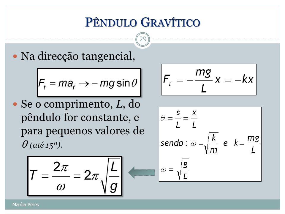 Na direcção tangencial, Se o comprimento, L, do pêndulo for constante, e para pequenos valores de  (até 15º). 29 Marília Peres P ÊNDULO G RAVÍTICO