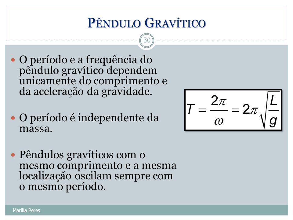 O período e a frequência do pêndulo gravítico dependem unicamente do comprimento e da aceleração da gravidade. O período é independente da massa. Pênd