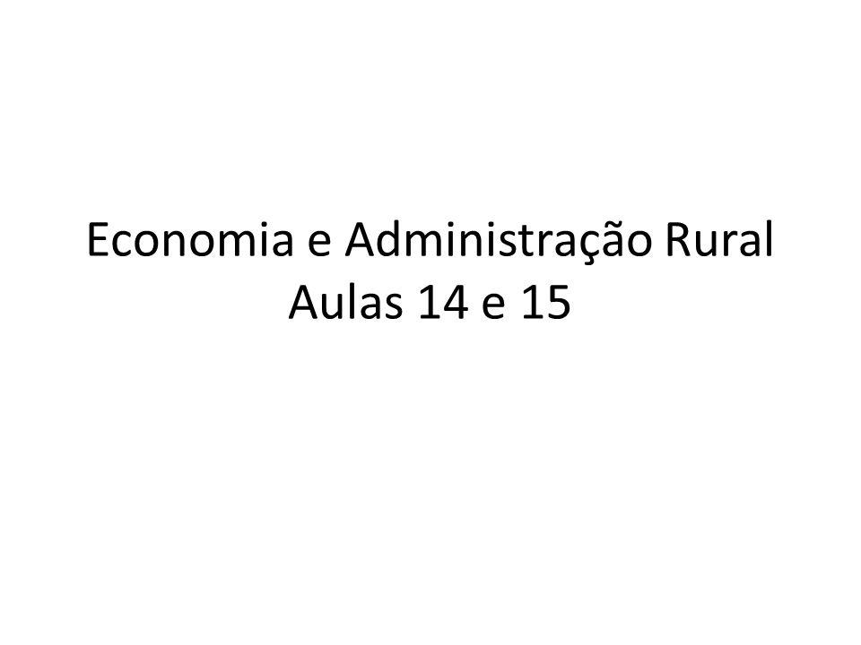 Economia e Administração Rural Aulas 14 e 15