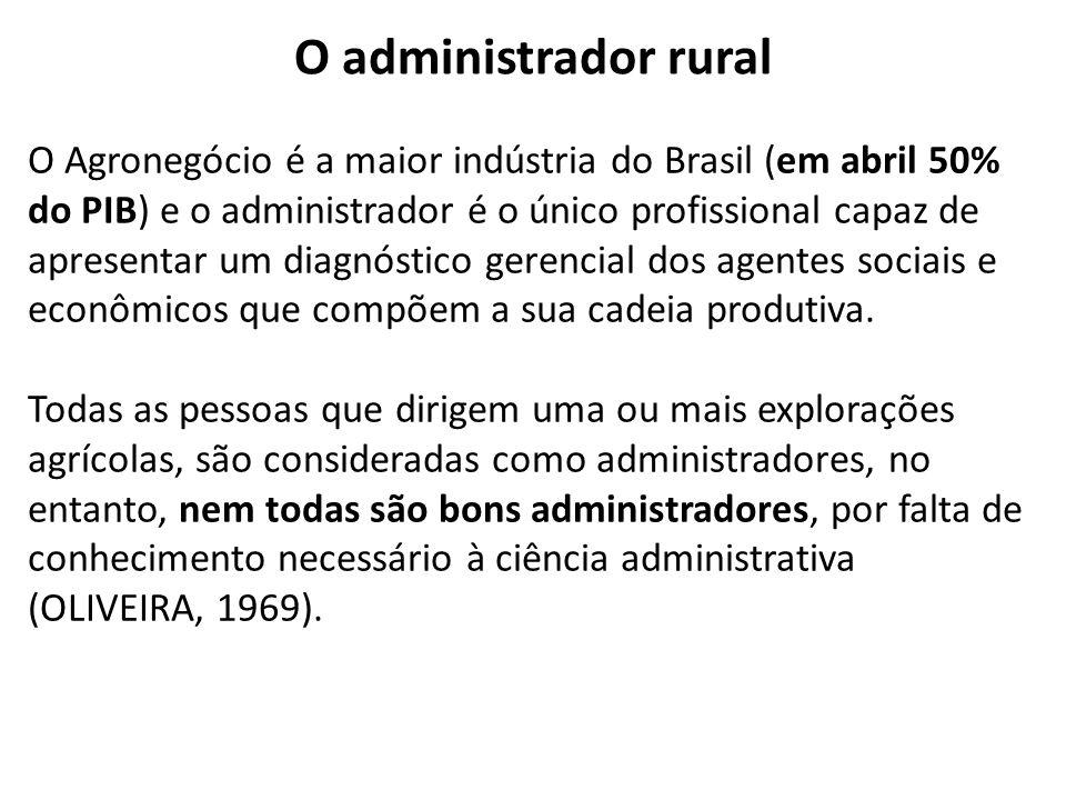 O administrador rural O Agronegócio é a maior indústria do Brasil (em abril 50% do PIB) e o administrador é o único profissional capaz de apresentar um diagnóstico gerencial dos agentes sociais e econômicos que compõem a sua cadeia produtiva.