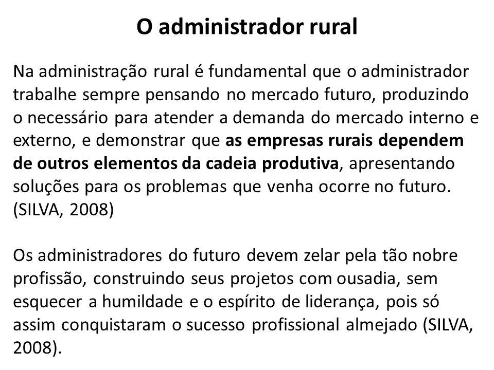 Na administração rural é fundamental que o administrador trabalhe sempre pensando no mercado futuro, produzindo o necessário para atender a demanda do