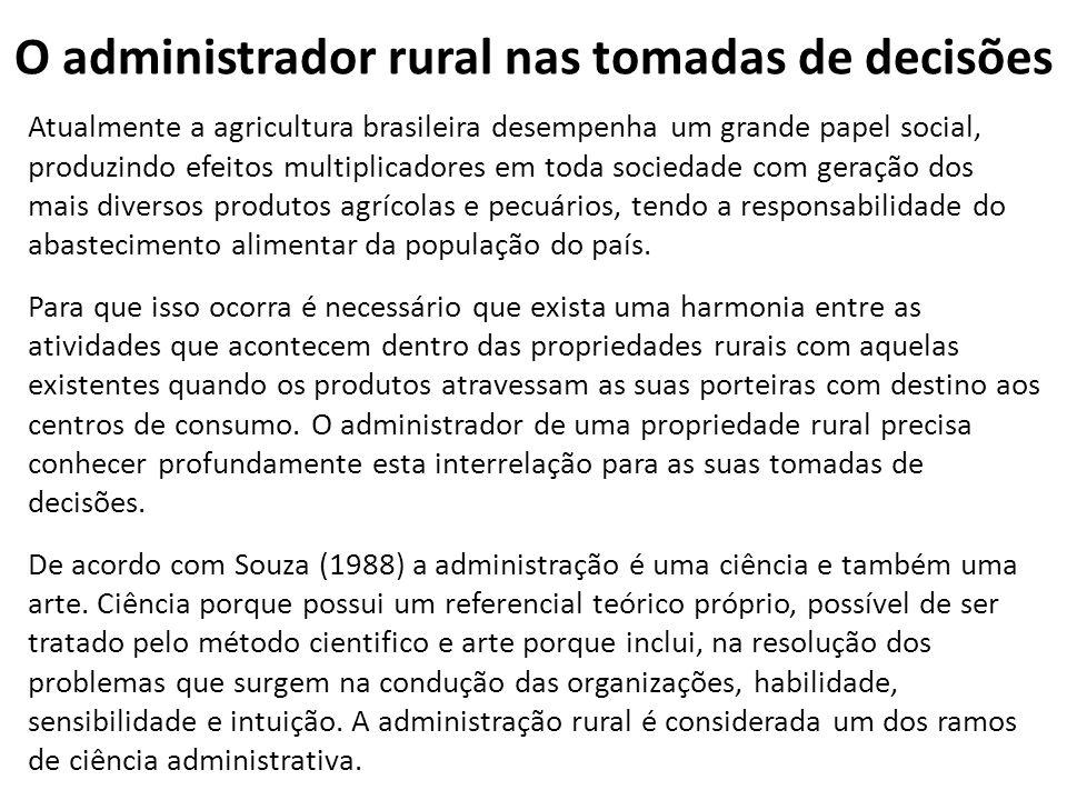 O administrador rural nas tomadas de decisões Atualmente a agricultura brasileira desempenha um grande papel social, produzindo efeitos multiplicadore