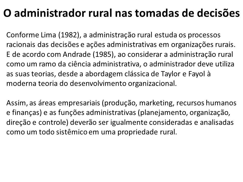O administrador rural nas tomadas de decisões Conforme Lima (1982), a administração rural estuda os processos racionais das decisões e ações administr