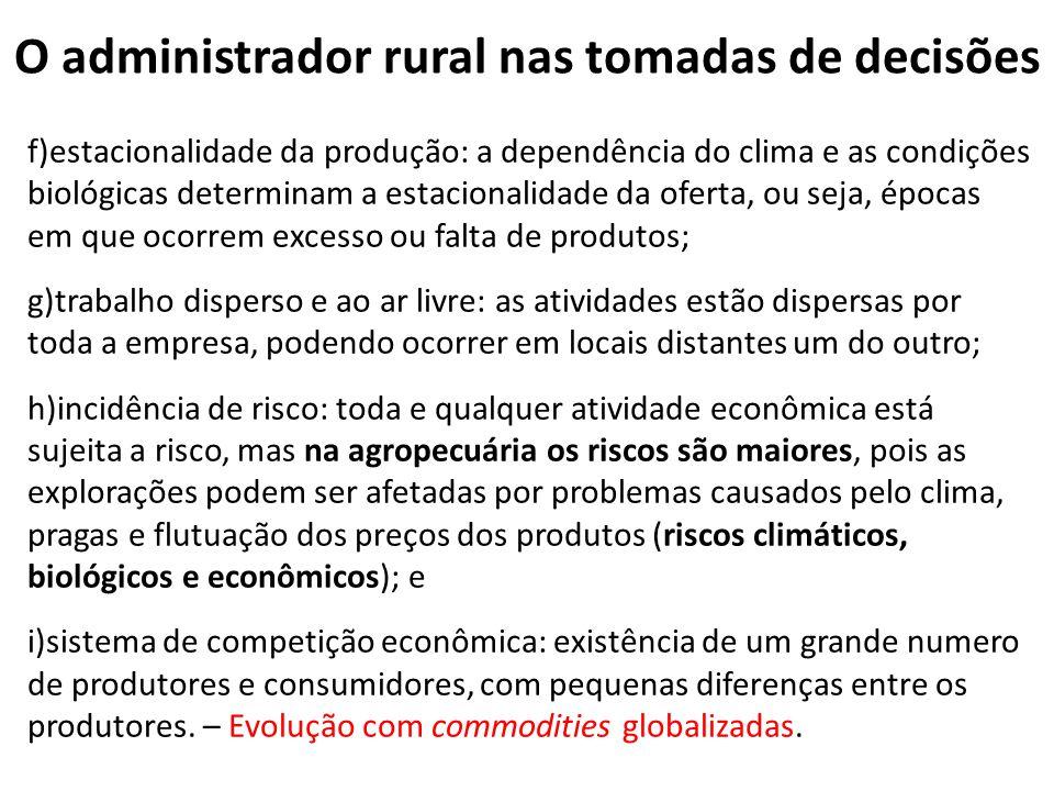 O administrador rural nas tomadas de decisões f)estacionalidade da produção: a dependência do clima e as condições biológicas determinam a estacionali