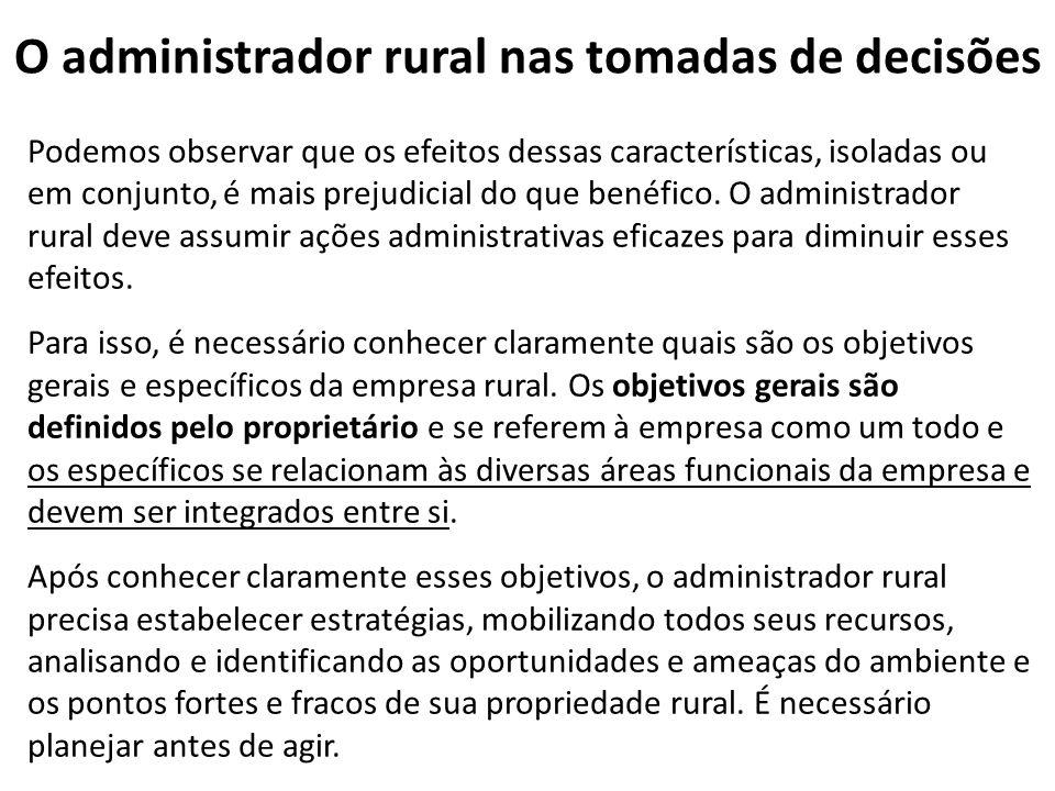 O administrador rural nas tomadas de decisões Podemos observar que os efeitos dessas características, isoladas ou em conjunto, é mais prejudicial do q