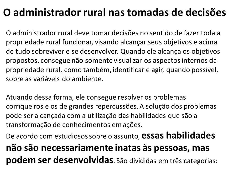 O administrador rural nas tomadas de decisões O administrador rural deve tomar decisões no sentido de fazer toda a propriedade rural funcionar, visand