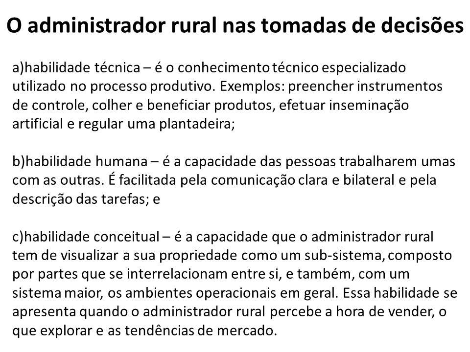 O administrador rural nas tomadas de decisões a)habilidade técnica – é o conhecimento técnico especializado utilizado no processo produtivo. Exemplos: