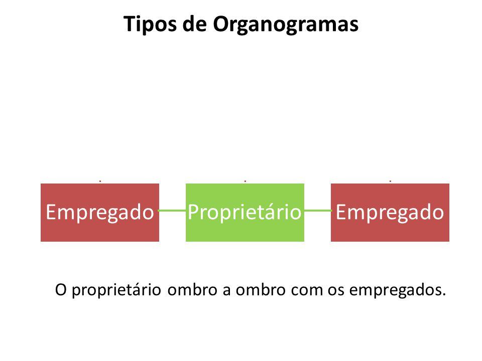 Tipos de Organogramas EmpregadoProprietárioEmpregado O proprietário ombro a ombro com os empregados.