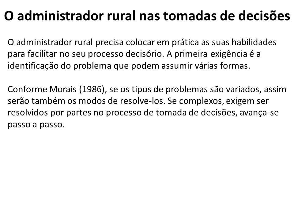O administrador rural nas tomadas de decisões O administrador rural precisa colocar em prática as suas habilidades para facilitar no seu processo deci