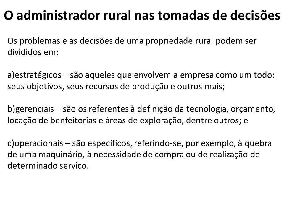 O administrador rural nas tomadas de decisões Os problemas e as decisões de uma propriedade rural podem ser divididos em: a)estratégicos – são aqueles