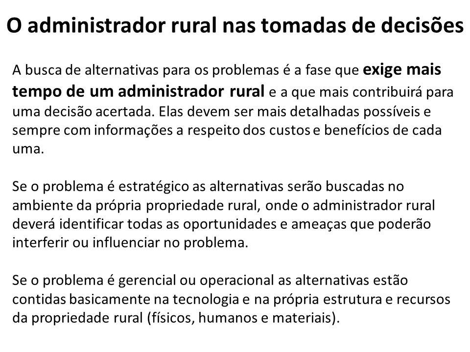 O administrador rural nas tomadas de decisões A busca de alternativas para os problemas é a fase que exige mais tempo de um administrador rural e a qu