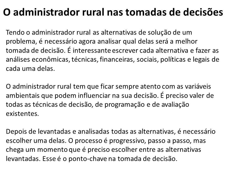 O administrador rural nas tomadas de decisões Tendo o administrador rural as alternativas de solução de um problema, é necessário agora analisar qual delas será a melhor tomada de decisão.