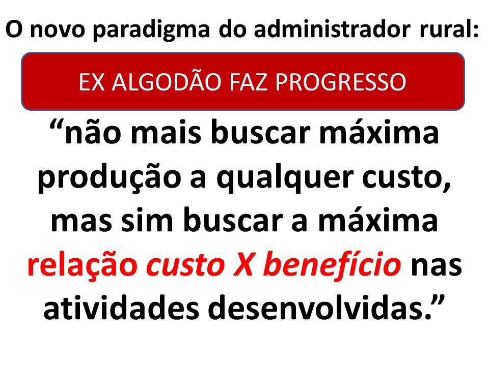 """O novo paradigma do administrador rural: """"não mais buscar máxima produção a qualquer custo, mas sim buscar a máxima relação custo X benefício nas ativ"""