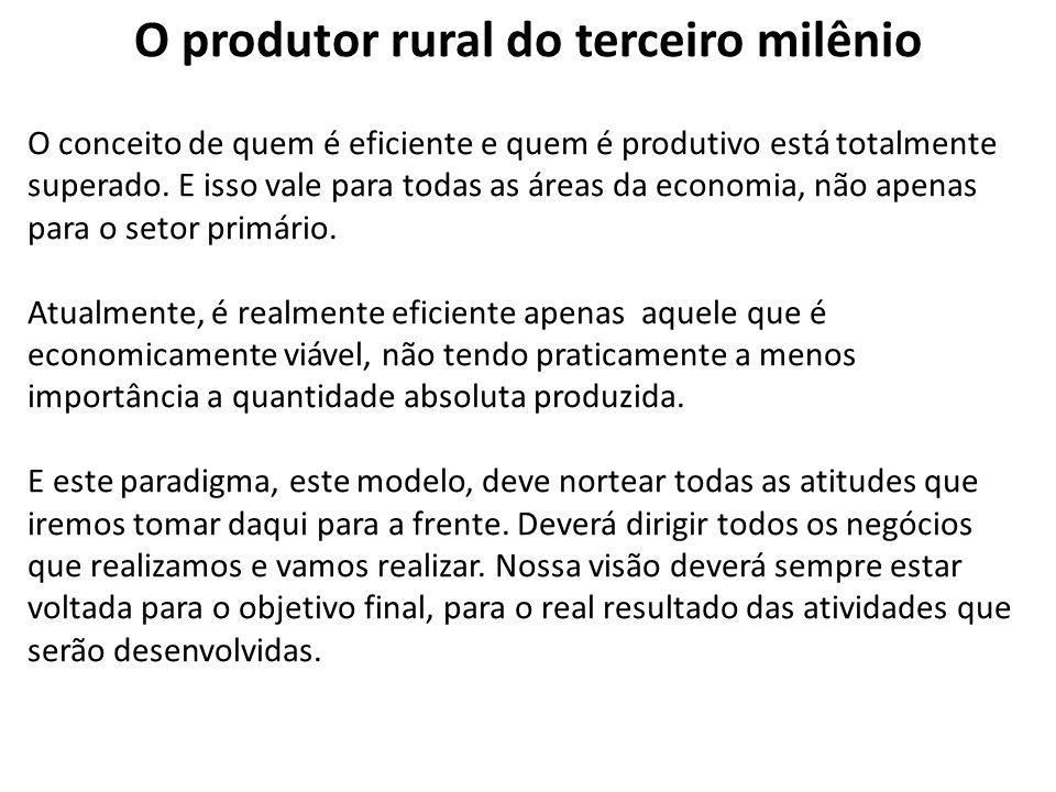 O produtor rural do terceiro milênio O conceito de quem é eficiente e quem é produtivo está totalmente superado. E isso vale para todas as áreas da ec