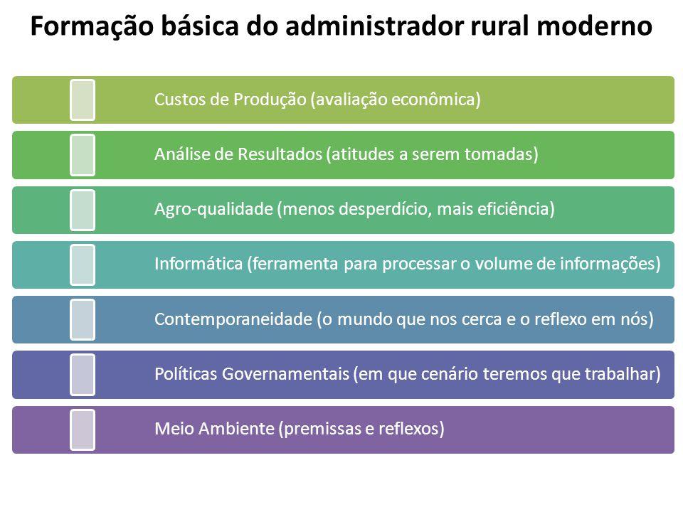Formação básica do administrador rural moderno Custos de Produção (avaliação econômica) Análise de Resultados (atitudes a serem tomadas) Agro-qualidad