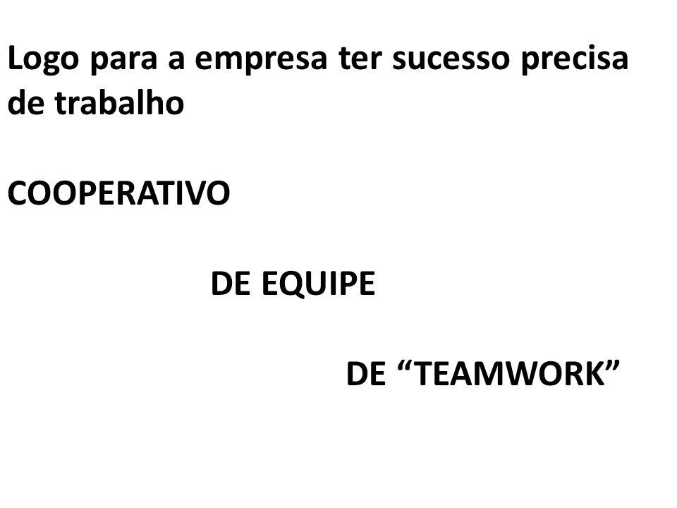 """Logo para a empresa ter sucesso precisa de trabalho COOPERATIVO DE EQUIPE DE """"TEAMWORK"""""""