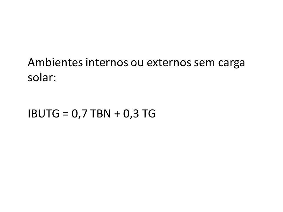 Ambientes internos ou externos sem carga solar: IBUTG = 0,7 TBN + 0,3 TG