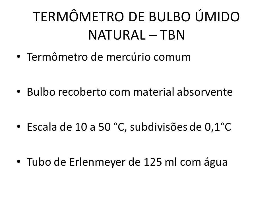 TERMÔMETRO DE BULBO ÚMIDO NATURAL – TBN Termômetro de mercúrio comum Bulbo recoberto com material absorvente Escala de 10 a 50 °C, subdivisões de 0,1°