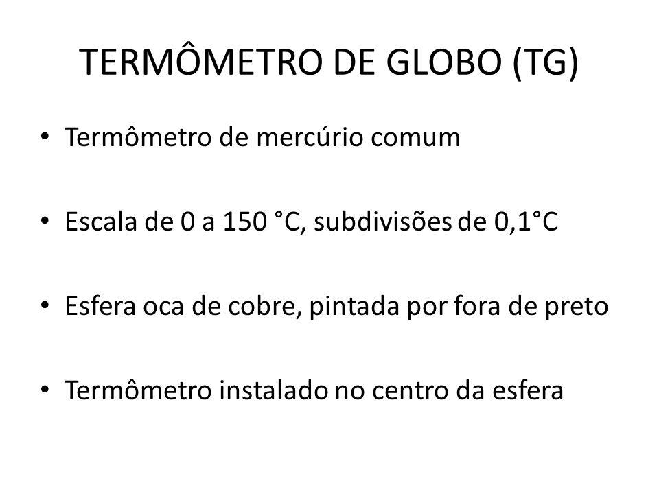 TERMÔMETRO DE GLOBO (TG) Termômetro de mercúrio comum Escala de 0 a 150 °C, subdivisões de 0,1°C Esfera oca de cobre, pintada por fora de preto Termôm