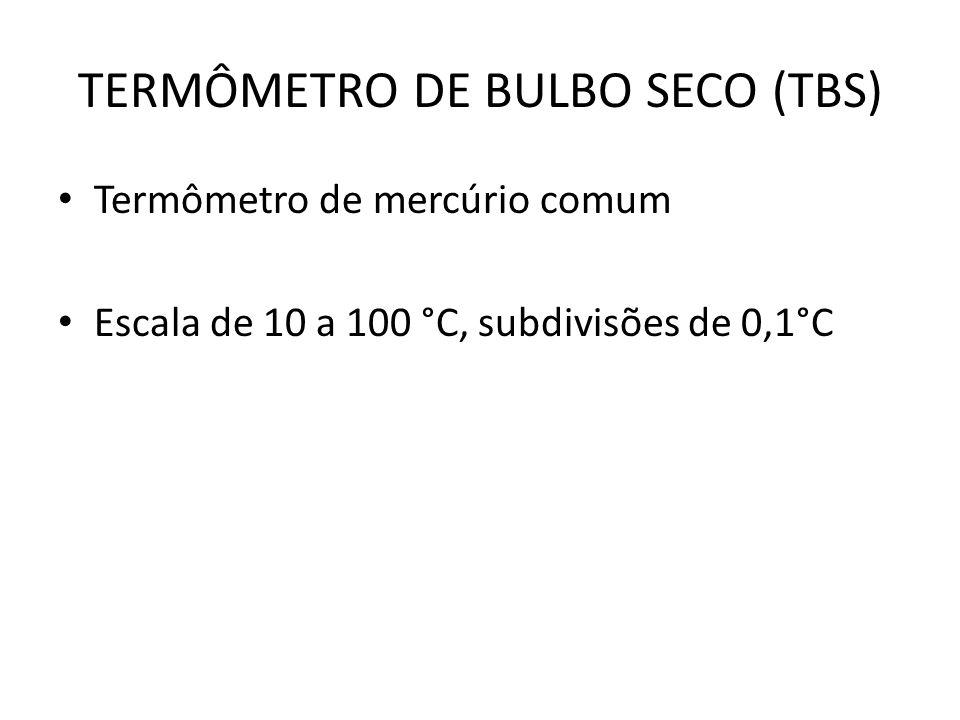TERMÔMETRO DE BULBO SECO (TBS) Termômetro de mercúrio comum Escala de 10 a 100 °C, subdivisões de 0,1°C