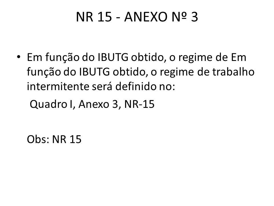 NR 15 - ANEXO Nº 3 Em função do IBUTG obtido, o regime de Em função do IBUTG obtido, o regime de trabalho intermitente será definido no: Quadro I, Ane